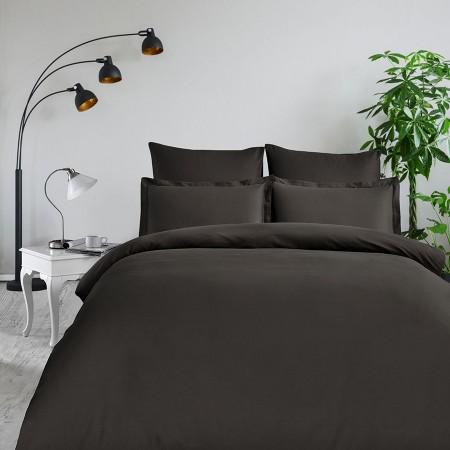 Комплект постельного белья из сатина однотонный Коричневый