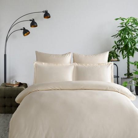 Комплект постельного белья из сатина однотонный Кремовый